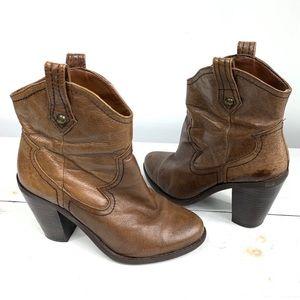 JESSICA SIMPSON cavett cowboy booties 5-M brown
